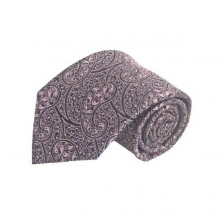 Pink, Black Paisley Men's Tie w/Pocket Square 3453-0
