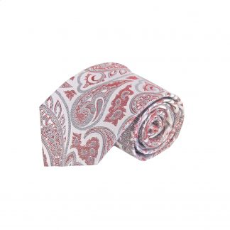 Pink, Medium Red, Gray Paisley Silk Men's Tie 3122-0