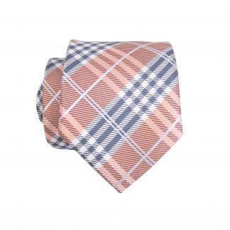 Salmon, Black, Gray Plaid Skinny Men's Tie w/Pocket Square 10498-0