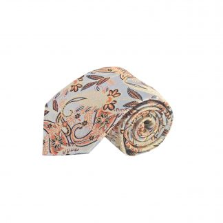 Silver, Peach Floral Paisley Men's Tie w/Pocket Square 1647-0