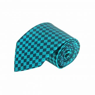 Teal, Navy Small Square Silk Men's Tie 10070-0