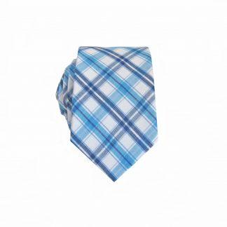 Teal, White Plaid Cotton Skinny Men's Tie 188-0