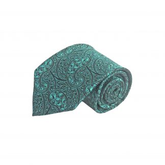 Turquoise, Black Paisley Men's Tie w/Pocket Square 11315-0