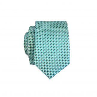 Turquoise, White, Black Small Squares Skinny Men's Tie w/Pocket Square 10247-0