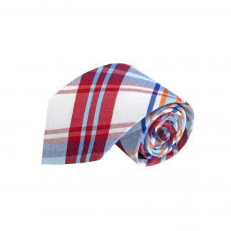 White, Red, Aqua, Navy Plaid Cotton Men's Tie 9805-0