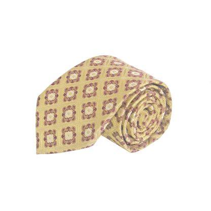 Gold, Burgundy Medallion Men's Tie w/Pocket Square 11264-0