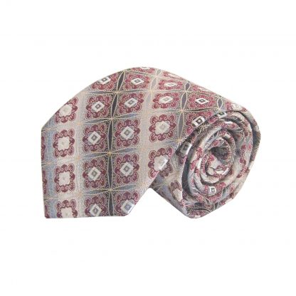Gray, Burgundy Medallion Men's Tie w/Pocket Square 3449-0