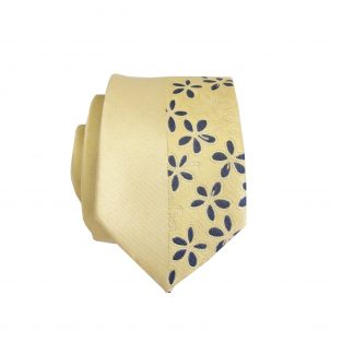 Yellow, Navy Floral Stripe Panel Skinny Men's Tie 1961-0