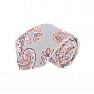 Silver, Clementine Paisley Men's Tie w/Pocket Square 9246-0