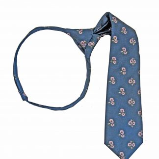 "11"" Boy's Zipper Navy, Pink Floral Tie 8956-0"