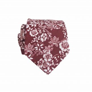 "49"" Boys Self Tie Burgundy Floral Cotton Tie 2362-0"