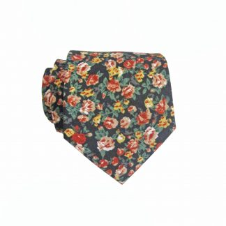 "49"" Boys Self Tie Red, Green, Mustard, Black Floral Cotton Tie 3903-0"