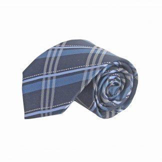 """63"""" XL Blue, Black Plaid Men's Tie 1977-0"""