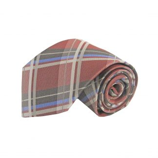 "63"" XL Medium Red, Silver, Blue Plaid Men's Tie 8921-0"