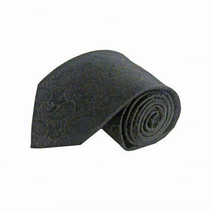Black Tone on Tone Paisley Men's Tie 2563 -0