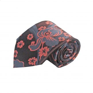 Brown, Salmon, Gray Floral Men's Tie w/Pocket Square 6452-0