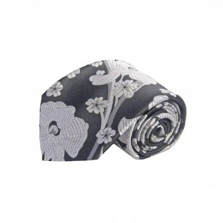 Charcoal, Silver, Gray Floral Men's Tie w/Pocket Square 9295-0