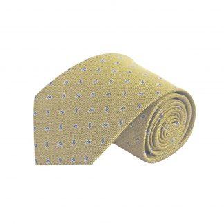 Gold, Blue Small Paisley Silk Men's Tie 10208-0