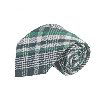 Hunter Green, Green, White Plaid Men's Tie w/Pocket Square 1676-0