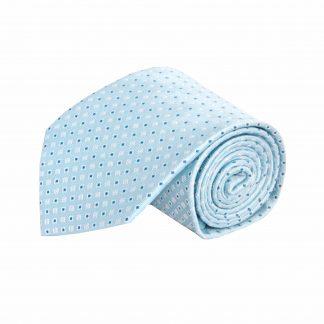 Light Blue, Blue, White Small Square Dot Men's Tie 9818-0