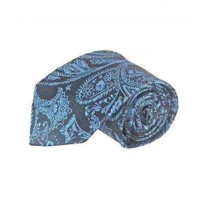 Light Blue, Charcoal Paisley Men's Tie 11128-0