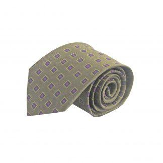 Olive, Blue, Fuchsia Squares Silk Men's Tie 9097-0