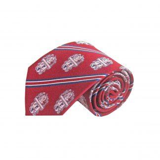 Red, Blue, White Stripe Crest Silk Men's Tie 8133-0