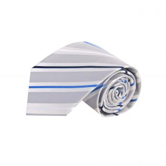 Silver, Blue, White Stripe Men's Tie 861-0