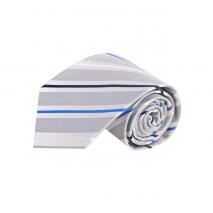 Silver, Blue, White Stripe Men's Tie 861-0