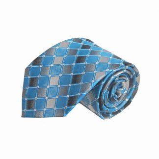 Turquoise, Gray Squares Men's Tie 11418-0