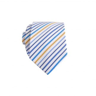 White, Blue, Teal, Yellow Stripe Skinny Men's Tie 1582-0