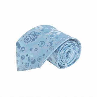French Blue Floral Circle Men's Tie 5226-0