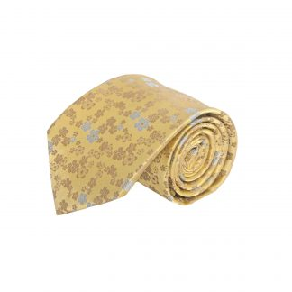 """63"""" XL Gold, Taupe, Light Blue Small Floral Men's Tie 5387-0"""