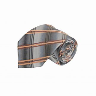 Gray, Orange, Brown Criss Cross Men's Tie 9505-0