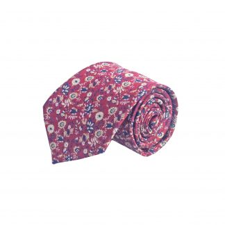 Red, Navy, Taupe Floral Men's Tie 10588-0