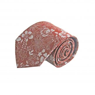 Rust, Gray Floral Men's Tie 6713-0