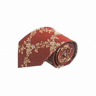 Rust, Khaki Floral Vine Men's Tie 6763-0