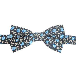 Black, Blue, Creme Floral Cotton Banded Bow Tie 6729-0