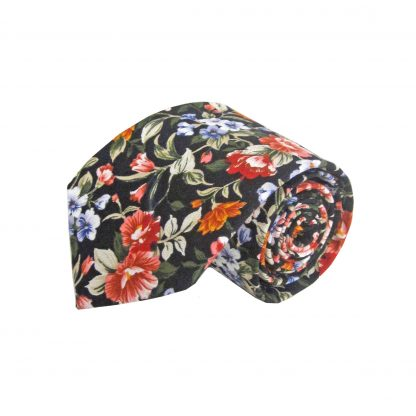 Black, Green, Orange Floral Cotton Men's Tie 11452-0