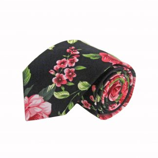 Black, Pink, Green Floral Cotton Men's Tie 7084-0