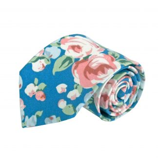 Blue, Green, Pink Floral Cotton Men's Tie 11319-0