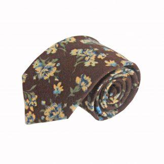 Brown, Green, Blue Floral Cotton Men's Tie 3738-0