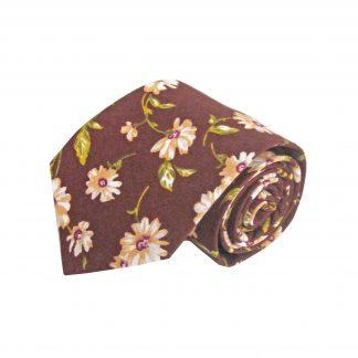 Brown, Khaki Floral Cotton Men's Tie 6772-0