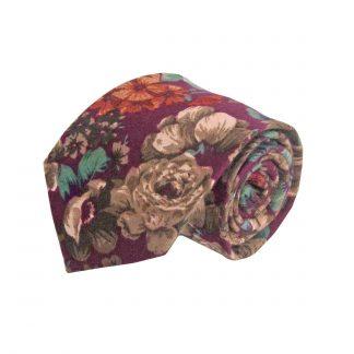 Burgundy, Green Floral Cotton Men's Tie 9722-0