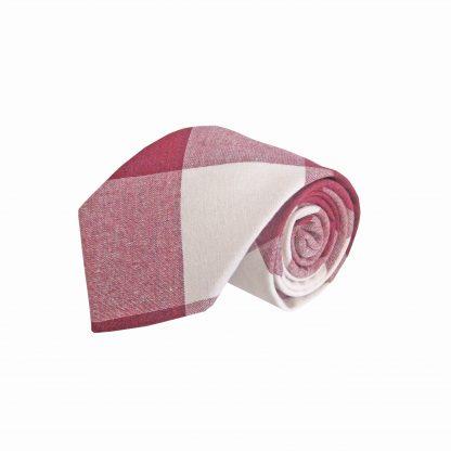 Burgundy, Medium Red, Creme Criss Cross Cotton Men's Tie 6797-0