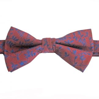 Burgundy, Navy Vines Banded Bow Tie 6715-0
