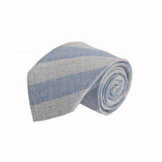 Denim, Gray Wide Stripe Cotton Men's Tie 1947-0