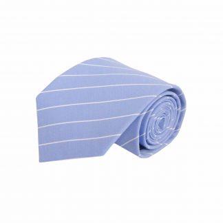French Blue , White Pinstripe Cotton Men's Tie 4247-0