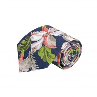 Navy, Peach, Green Floral Cotton Men's Tie-0