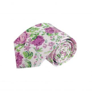 White, Lavender, Green Floral Cotton Men's Tie 6784-0